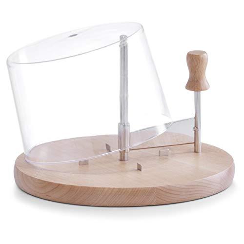 Pialla per formaggi in acciaio INOX^Tagliere in legno di alta qualità^Con 4 uncini per un appoggio sicuro^Campana in acrilico, per una conservazione più lunga