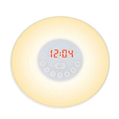 HUA-Wekker Digitale Klok met FM Radio Wakker Licht Alarm Klok Zonsopgang Zonsondergang 7 Kleur Licht 6 Natuur Geluid Snooze Functie Touch Controle