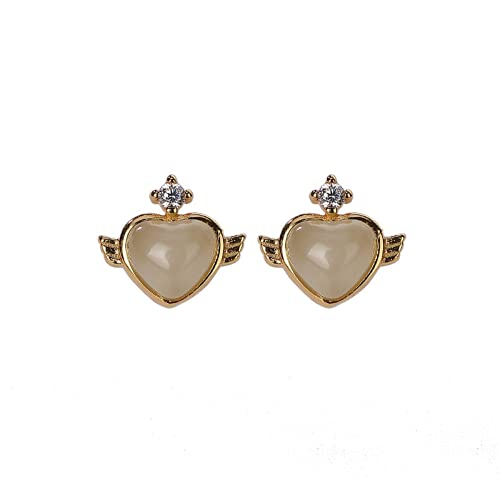 S925 plata esterlina chapada en oro Hetian jade pendientes pequeños y personalizados simples en forma de corazón de las mujeres pendientes