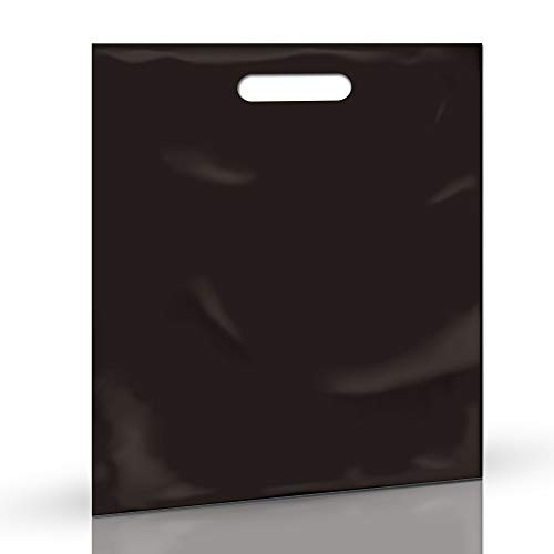 100 Pack 9' x 12' with 1.25 mil Thick Black Merchandise Plastic Glossy Retail Bags | Die Cut Handles | Perfect for Shopping, Party Favors, Birthdays, Children Parties | Color Black | 100% Recyclable
