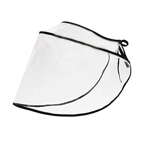 FEOYA Visier Gesichtsschutz Transparent Verstellbar PVC Gesichtsschutzschild Wasserdicht Staubdicht Anti-Saliva Schutzvisier für Sonnenhut Fischerhut Strohhut Baseball Cap