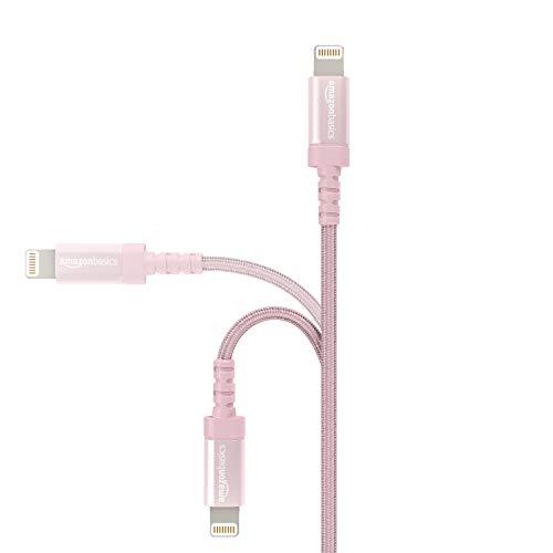 Amazon Basics Lightning auf USB A Kabel, Nylon geflochten, MFi-zertifiziert, Apple iPhone Ladegerät, Roségold, 1,8 m, 10 Stück