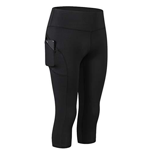 Ketamyy Donna Pantaloni Pinocchietto Alta Vita per Yoga con Tasche, Leggings Stretti Palestra Fitness Allenamento Running Sport Pantacollant Trousers Nero L