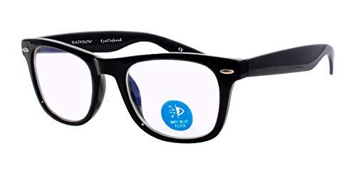 rainbow safety Gafas Antifatiga Computadoras Lentes Bloqueadores de Luz Azul para Smartphones Ordenadores Televisores Tabletas RWN1BL (Negro)