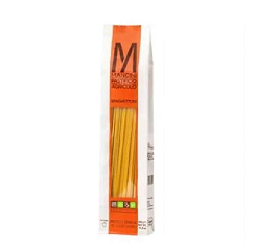Mancini Spaghettoni 1kg - Ottimo sapore con un profumo di vero grano e la pasta ha creste graffianti e ben definite. Gli spaghettoni hanno una lunghezza di 260 mm e un diametro di 2,5 mm.