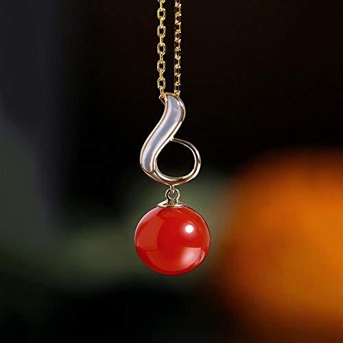 GUOJIAYI Runder roter Südlicher Achat Anhänger weiblicher Edelstein gelb 18 Karat Gold Halskette Geschenk