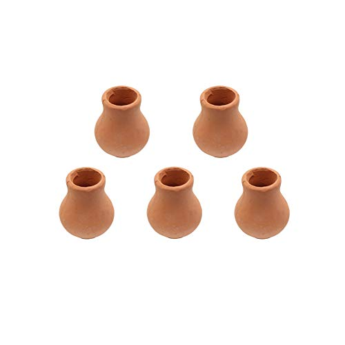 Hiawbon Dollhouse Miniature Clay Pots Pottery Planter, Flower Terra Cotta Pots ,for Garden Plants DIY Home and Office/Desktop/Windowsill Decoration, 5 Pcs