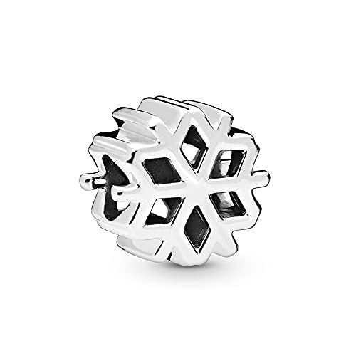 LIIHVYI Pandora Charms para Mujeres Cuentas Plata De Ley 925 Joyería De Bricolaje De Regalo De Copo De Nieve Pulido Compatible con Pulseras Europeos Collars