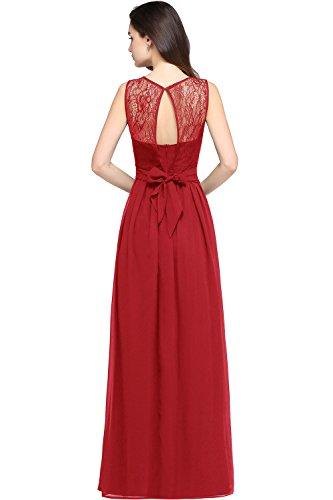 MisShow Festkleider Elegante Kleid für Jahrestreffen Rundhals Spitzen Cocktailkleid Bodenlang GR. 44