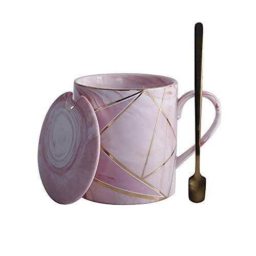 GYZD Tazas de café, Taza de cerámica de mármol para niño Amante, Conjunto de 3, Gris y Rosa,Rosado