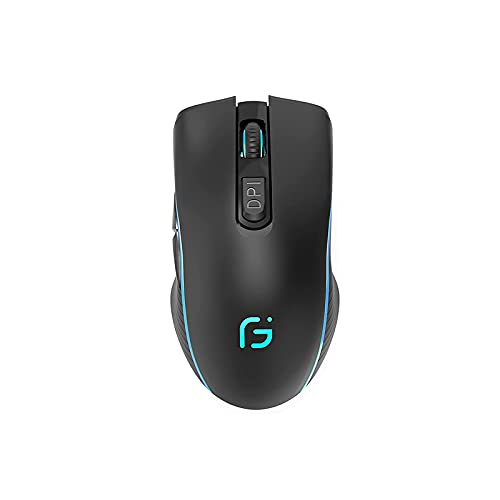 Bluetooth Mouse, WREWING 2.4G & Bluetooth Dual Mode Rechargeable RGB Gaming Mouse, Silent Click Noiseless Laptop Mouse Compatible with PC,Mac, Android, Windows (Black)