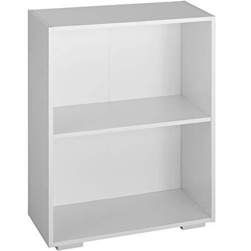 tectake 800840 Bücherregal aus Holz, Standregal mit 2 offenen Fächern, (BxTxH): ca. 60 x 30 x 77 cm, bodenschonende Kunststofffüße (Weiß)