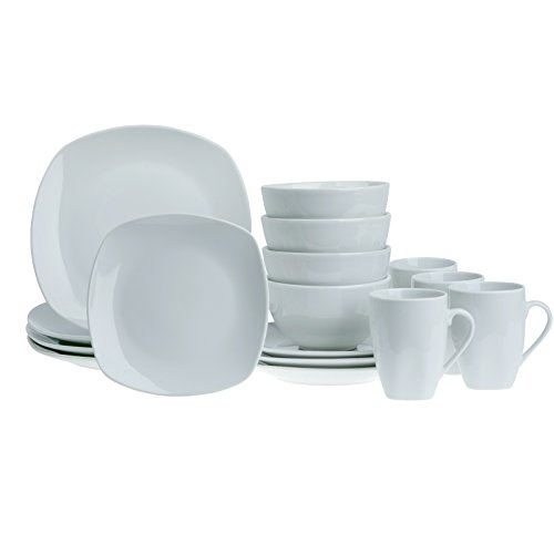 Tabletops Gallery Soft Square White Logan 16-Piece Dinnerware Set, Service for 4