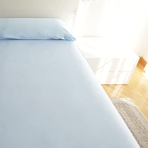 Juego de Sábanas 3 Piezas para Cama 90x190/200cm - 1 Sábana Bajera Ajustable+ 1 Encimera + 1 Funda de Almohada Color Liso (Azul Claro, Cama 90 cm)