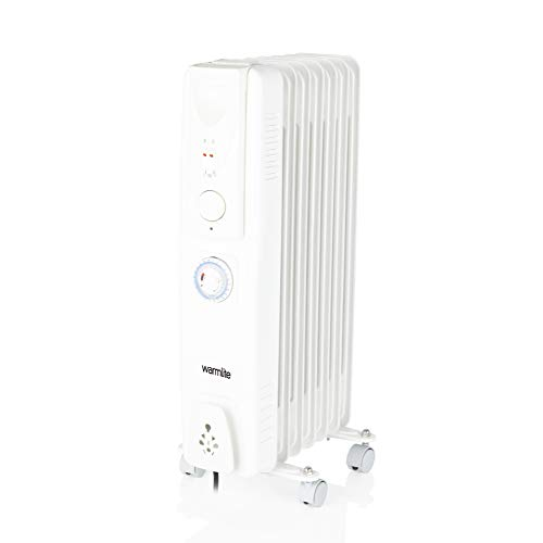 Warmlite WL43003YTW Oil Filled Radiator with Timer, 3 Heat Settings, 24 Hour Timer, Adjustable Thermostat, Overheat Protection, Power Indicator Light, 7 Heated Fins, 1500 W White