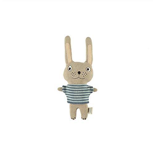 OyOy Mini Darling Cushion Baby Felix Rabbit Stofftier Hase - Süßes Baby Kinder Kissen Kuschelkissen und Schmusekissen - Baumwolle 32x14x8 cm