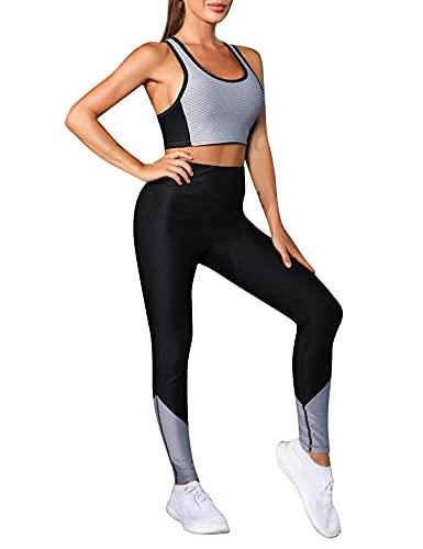 Wayleb Conjunto Yoga Mujer Ropa Fitness Conjunto Chandal Mujer Verano Completo 2 Piezas Set Sujetador Deportivo Mujer con Leggings para Correr Gimnasio