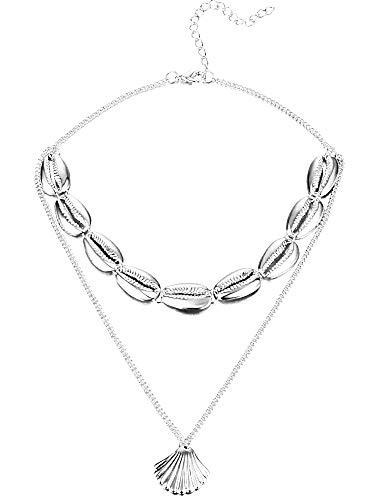 Vrouwelijke ketting - vrouw - schelpen - schelp - multi strand - choker - meisje - 2 strengen - zomer - mode - kerstmis - origineel cadeau-idee - sierraden - verjaardag - zilver - sieraden