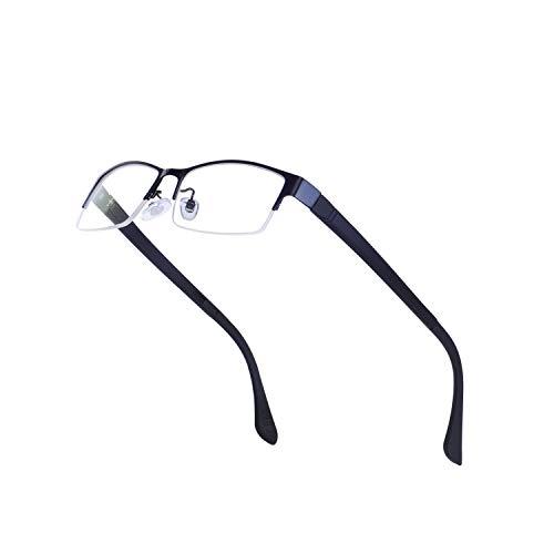 JoXiGo Halbrahmen Rechteckig Metall Brillenfassungen für Herren Ohne Stärke mit Brillenetuis, Schwarz, M