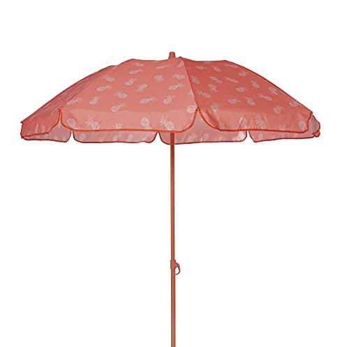 Ezpeleta Sombrilla de Playa Sombrilla terraza Parasol Plegable Protección Solar UPF 50+ Incluye Funda Tejido Estampado y Barra de Colores Tejido Estampado (Piñas Naranja)