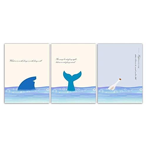 Lienzo Arte pared Impresión de peces Drift Botella Pintura Estilo nórdico Moda Cartel de cola de delfín Imágenes del paisaje marino para la decoración habitación de los niños Sin marco-A_40X50cmX3