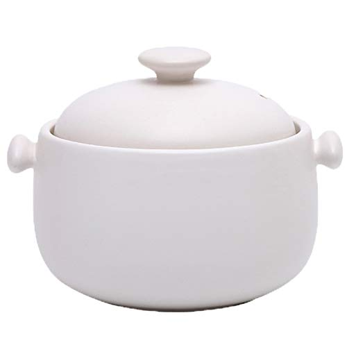 Ramekins y Souffl Cazuela de cerámica con tapa doble redonda resistente al calor, olla de barro, olla de barro, adición de material de litio litio permeable 1.8L Olla de sopa ( Color : White )