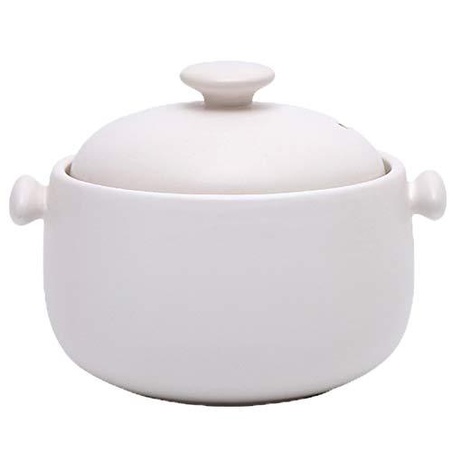 ZWMG Olla de cazuela Cazuela de cerámica con Tapa Doble Redonda Resistente al Calor, Olla de Barro, Olla de Barro, adición de Material de Litio Litio Permeable 1.8L (Color : White)
