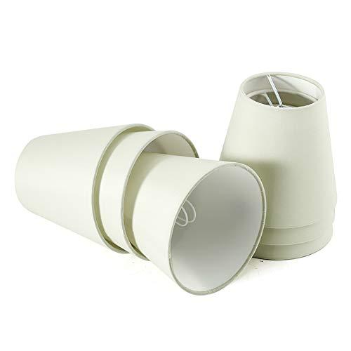 Fuloon Paralumi per Lampade, Set di 6 Paralume in Tessuto Paralume Beige Paralume lampadario per Candela Lampadario Lampada da Parete (Bianca)
