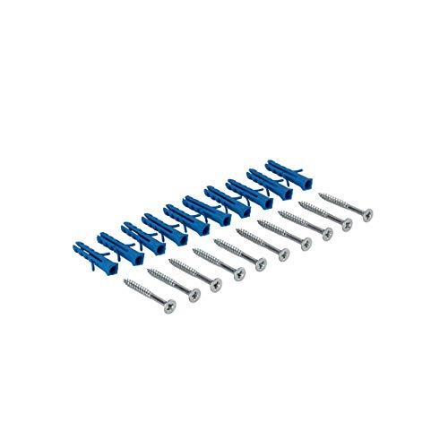 Gedotec Schrauben-Set für gelochte & gebohrte Übergangsprofile und Abschlussprofil aus Aluminium | Schrauben mit Dübel für Boden-Montage | Stahl Silber | 1 Set - Befestigungsmaterial zum Schrauben