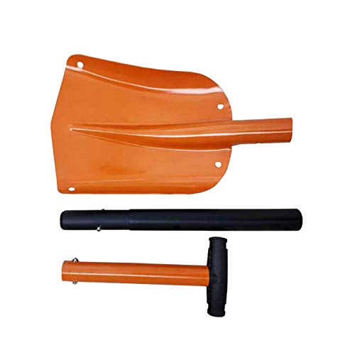 """Snow Shovel, 32"""" Folding Emergency Snow Shovel, Rugged Compact Tool for Car Snowmobiles or ATV Compact Winter Survival Gear Skiing Camping Mud Avalanche Collapsible Multifunctional (Orange)"""