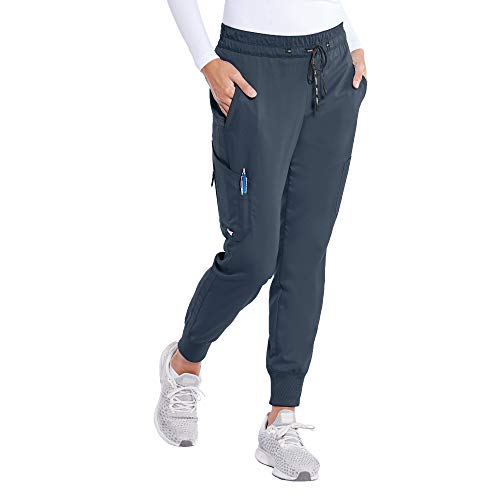 BARCO Grey's Anatomy GRP534 Damen Kira 5-Pocket Logo Tape Jogger Scrub Hose - Grau - Large Zierlich