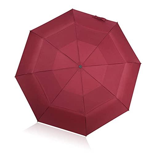 Paraguas de viaje compacto a prueba de viento doble toldo diseño durable portátil rojo lluvia paraguas viaje al aire libre