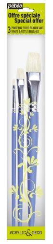 Pébéo 951100 - Confezione da 3 pennelli Piatti, Punta in Seta, Colore: Bianco