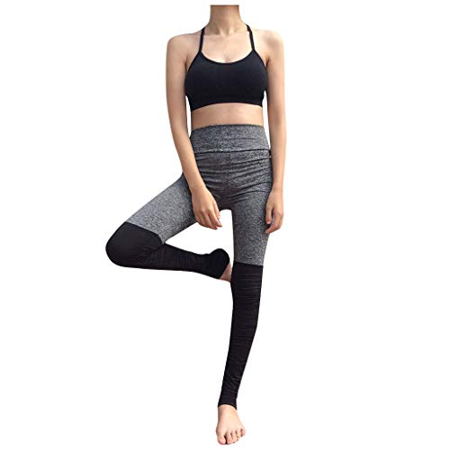 Smoxx Womens High Waist Yoga Pants Cutout Ripped Tummy Control Workout Running Yoga Skinny Leggings Straight Leg Pull-On Pant Gray