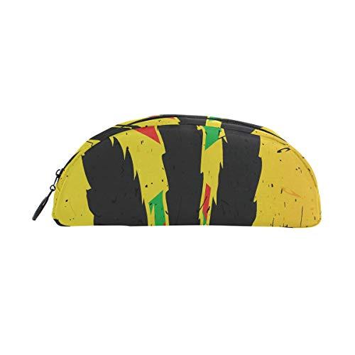 Slim Crayon Étui À Crayon Feuille De Cannabis Sur Grunge Drapeau Rastafarien Stylo Sac Organisateur Coffret Étui À Poche Poche Sac Zipper Pour Étudiants Classe Enfants Garçon Fille École Zipper Crayo