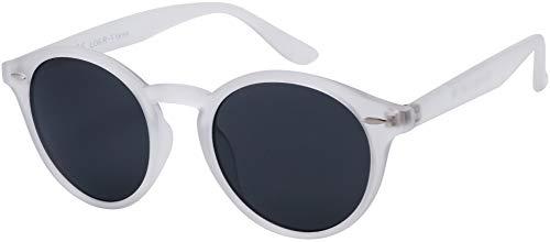 Originale La Optica UV400 Occhiali da Sole Unisex Specchiata Rotondi - Confezione Singola Gommata Trasparente (Lenti: Grigio)