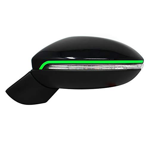 DS003 Spiegelstreifen von Finest-Folia Spiegel Aufkleber Folie Design Line Spiegelkappen Streifen (Neon Grün)