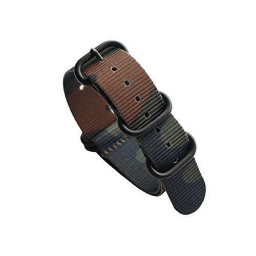 18mm/20mm/22mm/24mm Cinturino traspirante cinturini Nato Strap Sport militare di nylon mimetico Una fibbia nero, 20mm