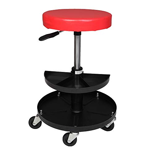 Adjustable Mechanics Creeper Seat Rolling Stool Pneumatic Chair Tray Padded Repair Shop Garage With 300 lbs Capacity
