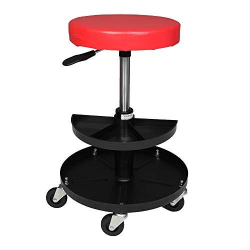 MOTOOS Adjustable Mechanics Creeper Seat Rolling Stool Pneumatic Chair Tray Padded Repair Shop Garage with 300 lbs Capacity