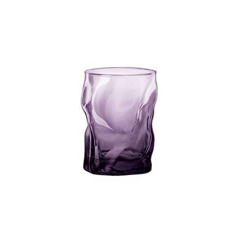 Maya Star Vaso de cóctel con diseño de ondas de estilo japonés para whisky, whisky, brandy y whisky, color morado transparente