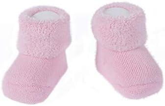 CALZITALY – Patucos para Bebé, Calcetines Recién Nacido | Rosa, Azul, Blanco, Rojo | Talla Única | Made in Italy (Talla única 0/12 meses, Rosa)