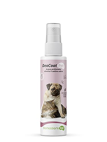 DYNAMOPET BenesserePet DeoCoat Agua Perfumada para Perros y Gatos 100 ml, Perfume para Mascotas, Elimina el Mal Olor, Desodorante, Agradable Talco Frangranza, Ingredientes Naturales