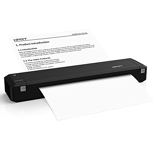 HPRT MT800 Portable A4 Thermal Printer - Support 216mm Width a4 Paper, Available for Outdoors Printing, Home Office, Travel, Students and Cars