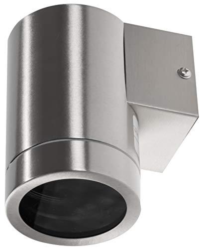 Aluminium spot muurspot IP44 GU10-1 lamp roestvrij staal gepolijst