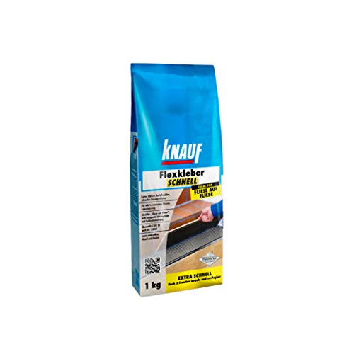 Knauf Flexkleber Schnell, Klebe-Mörtel Fliesenkleber – Fliesen- und Naturstein-Kleber für Wand und Boden, schnell trocknend, zur Anwendung beim Fliesen-Legen innen und außen, 1-kg
