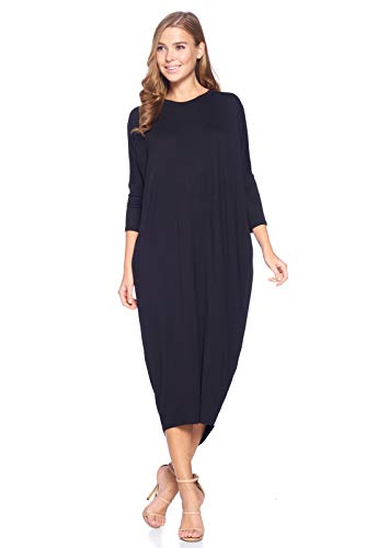 12 Ami Solid Long Sleeve Cover-Up Maxi Dress Black Small