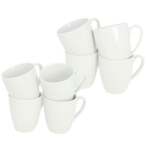 com-four® 8x Kaffeebecher aus Porzellan - Kaffeetasse auch für Tee und Glühwein - Kaffeepott im zeitlosen Design - 300 ml je Tasse
