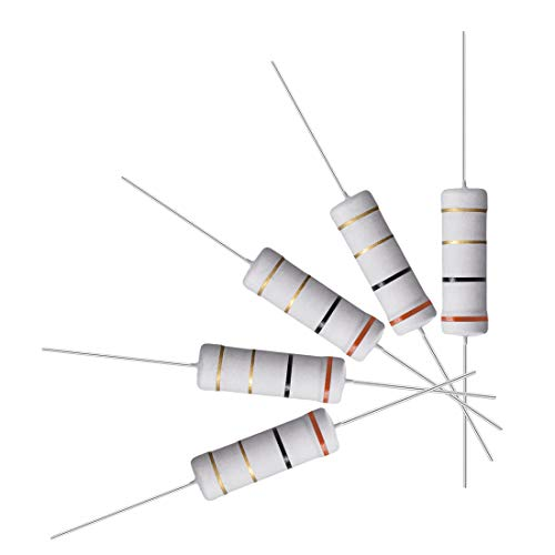 uxcell 10Pcs 3 Ohm Resistor, 5W 5% Tolerance Metal Oxide Film Resistors, Axial Lead, Flame Proof for DIY Electronic Projects and Experiments