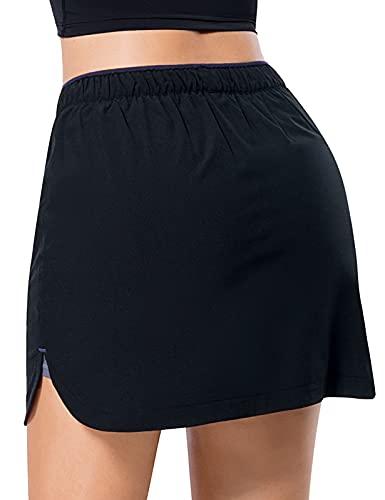 MOVE BEYOND Faldas Pantalón de Tenis para Mujer con 3 Bolsillos Falda Deportiva Ligera con Pantalón Corto Incorporado para Golf Correr Entrenamiento, Negro y Gris OscuroL